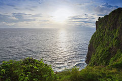 Sunset from the Pura Uluwatu temple on Bali Royalty Free Stock Photo