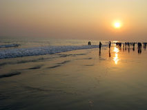 Sunset at puri sea beach Stock Images