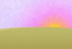Sunset on the purple pink sky. Green meadow, field. Digital background raster illustration Stock Photo