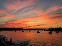 Sunset Put-in-Bay. Sunset over bay on Lake Erie with boats in harbor on mooring balls Stock Photos