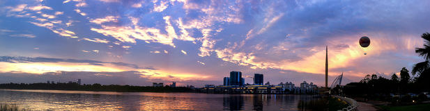Sunset at Putrajaya, Malaysia. Beautiful Sunset Scene at Golden Hour Royalty Free Stock Images