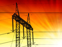 Sunset pylon Stock Photography