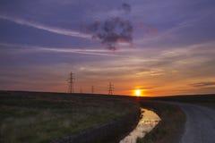 Sunset pylon Stock Photography