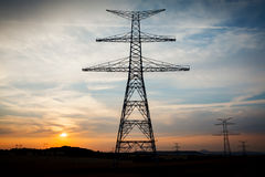 Sunset pylon Royalty Free Stock Photo
