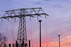 Sunset pylons Royalty Free Stock Images