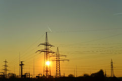 Sunset (pylons) Stock Images