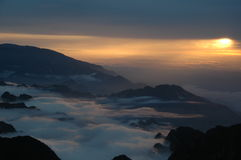 Sunset in Qin mountains( Qin Lin) China Stock Images