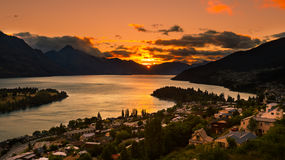 Sunset in Queenstown. New Zealand Royalty Free Stock Photography
