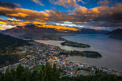 Sunset at Queenstown and the Remarkables Stock Photography