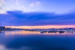 Sunset in quiet port of l`Escala, Costa Brava. Stock Images