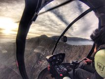 Sunset in the r44. Aviation r44 sunset Stock Photos