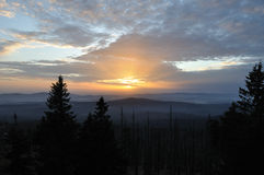 Sunset from Rachel. The Rachel is the second highest mountain in the National Park Bavarian Forest, with a height of 1453m. The highest is the Great Arber with Royalty Free Stock Images
