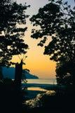 Sunset at Radhanagar beach royalty free stock images