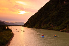 Sunset Rafting Stock Images