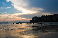 Sunset at Rai Lay Beach Krabi Thailand Royalty Free Stock Images