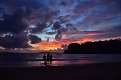 Sunset in Railay Beach Thailand royalty free stock photo