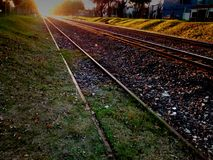 Sunset railroad Stock Images