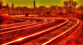 Sunset Railroad Tracks HDR Stock Images