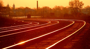Sunset Railroad Tracks Royalty Free Stock Photos