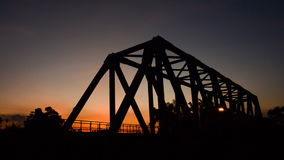 Sunset at the railway bridge. HD. Railway bridge at sunset in rural of Thailand. High Definition 1920x1080 Video Format stock footage