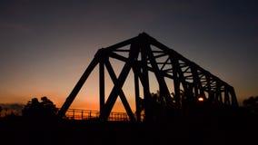 Sunset at the railway bridge. HD stock footage
