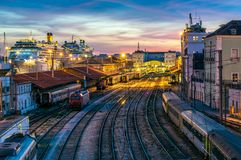 Santa Apolonia Station, in Lisbon. Sunset at the railway station and cruise terminal of Santa Apolonia, main entrance of tourism in Lisbon, Portugal Stock Image