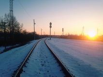 Sunset in the railway. Winter sunset in the railway Royalty Free Stock Photo