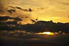 Sunset after rain. Deep orange sunset after a rainstorm Stock Images
