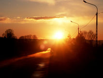 Sunset. After the rain in the fog Royalty Free Stock Photos