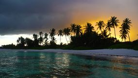 Sunset after the Rain. Sea view and tropical island beach in Punta Cana resort, Dominican Republic.  stock footage