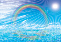 Sunset rainbow. Imagination drawing for rainbow and sunset Royalty Free Stock Image