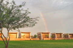 Sunset & Rainbow At A Cemetery Royalty Free Stock Photo