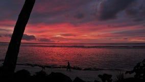 Sunset in Rarotonga stock image