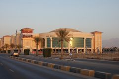 Sunset in Ras al Khaimah, United Arab Emirates looking at RAK Mall along Khuzam Road royalty free stock photo
