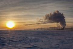 Sunset on the Rathdrum, Idaho snowy field. Stock Image