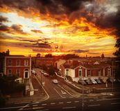 Sunset in rathmines. Sunset over suburban houses in rathmines Stock Photo
