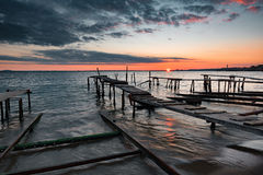 Sunset at Ravda, Bulgaria. Beautiful sunset at Ravda, Bulgaria stock photos