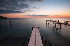 Sunset at Ravda, Bulgaria. Cloudy sunset at Ravda, Bulgaria royalty free stock photos