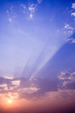 Sunset rays with cloud Royalty Free Stock Image