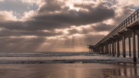 Scripps Pier after the sunset. Rays of light, Scripps Pier, San Diego, California Stock Photography