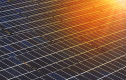 Sunset rays over Solar Panels. Royalty Free Stock Photography