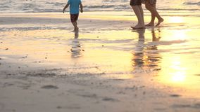 At sunset, in the rays of the sun, a married couple with a small child strolls along the beach, along the surf line. Their silhouettes are reflected in the stock footage