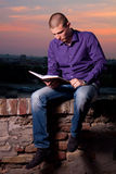 Sunset reading Stock Photography