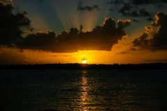Sunset at Real River, Bahia, Brazil. Sunset at Real RIver in Mangue Seco, Bahia, Brazil. circa 2005 royalty free stock photo
