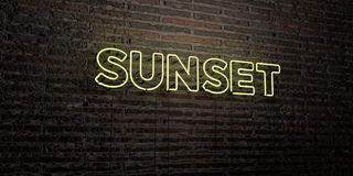 SUNSET -Realistic Neon Sign on Brick Wall background - 3D rendered royalty free stock image Royalty Free Stock Photo
