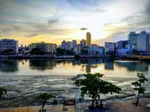 Sunset on the Recife City royalty free stock images