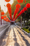 Sunset and red lanterns Royalty Free Stock Photos