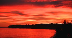 Sunset red Malibu California Royalty Free Stock Images