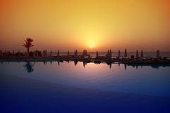 The sunset on the Red Sea, Egypt. Silhouettes of palm trees and umbrellas at sunset on the Red Sea, Egypt Stock Photos