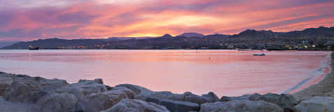 Sunset at the Red sea, Eilat, Israel Stock Photography